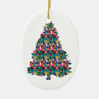EDELSTEIN verzierter Weihnachtsbaum:  Frohe Ovales Keramik Ornament