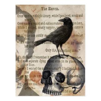 Edgar Allan Poe der Raben-Schädel und der Vogel Postkarte
