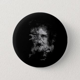 Edgar Allan Poe im Rauche mit Raben Runder Button 5,1 Cm