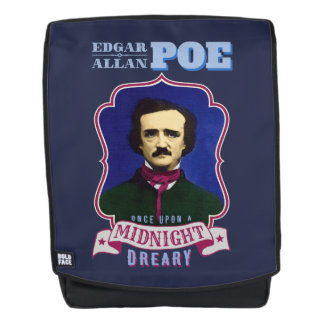Edgar Allan Poe-Raben-Zitat und Porträt Rucksack