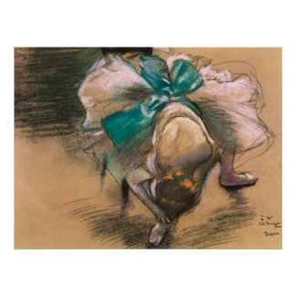 Edgar Degas-Tänzer, der ihre Schuh-Bänder bindet Plakatdruck
