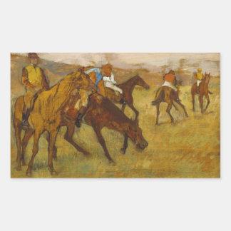 Edgar Degas - vor dem Rennen Rechteckiger Aufkleber