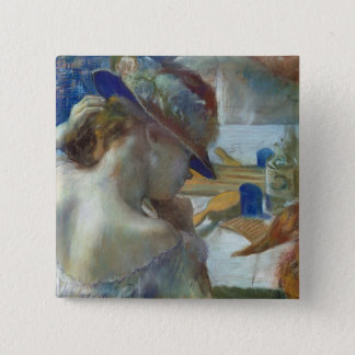 Edgar Degas   vor dem Spiegel, 1889 Quadratischer Button 5,1 Cm