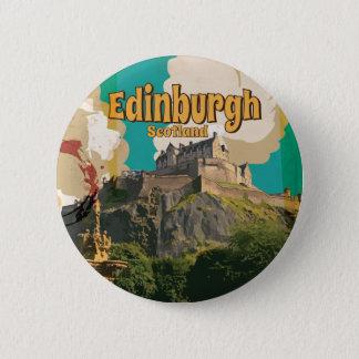Edingburgh, Vintages Reise-Plakat Schottlands Runder Button 5,1 Cm