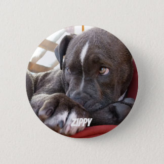Editable Baby Pitbull Welpen Runder Button 5,1 Cm