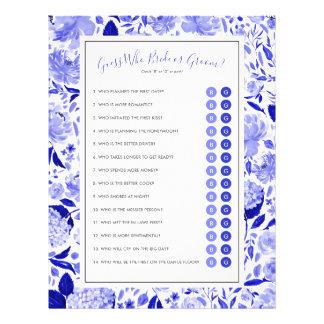 Editable Brautparty-Spiel-blaues BlumenFoto Flyer