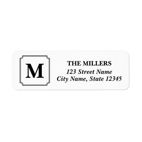 Editable Farbmonogramm-moderne klassische Adresse Kleiner Adressaufkleber
