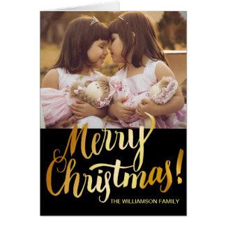Editable frohe Weihnacht-Karte mit Familien-Foto Karte