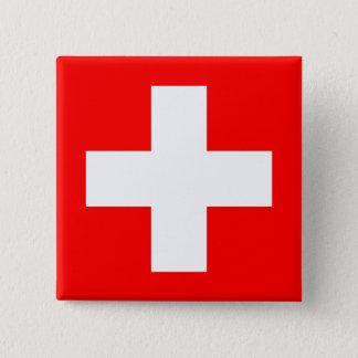 Editable Hintergrund, die Flagge von der Schweiz Quadratischer Button 5,1 Cm