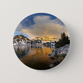 Ediza See-Sonnenuntergang - Sierra Nevada-Berge Runder Button 5,7 Cm
