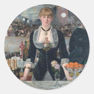 """Edouard Manet """"s ein Bar beim Folies-Bergère Runder Aufkleber"""