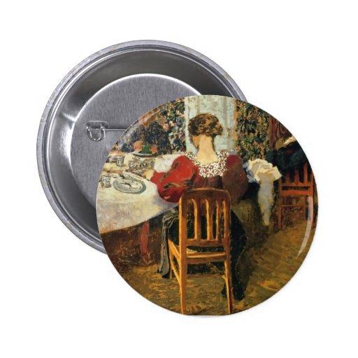 Edouard Vuillard-Ende des Frühstücks bei Anstecknadelbutton