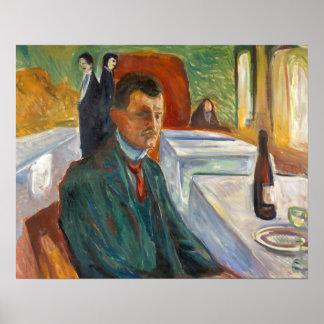 Edvard Munch - Selbstporträt mit einer Flasche Poster