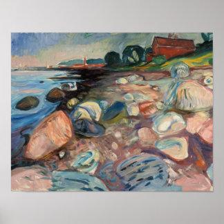 Edvard Munch - Ufer mit rotem Haus Poster