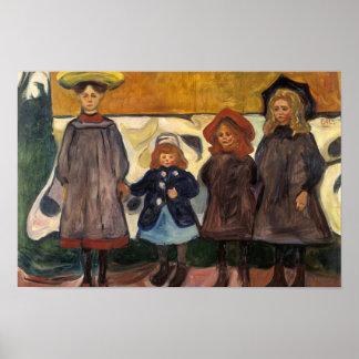 Edvard Munch - vier Mädchen in Asgardstrand Poster