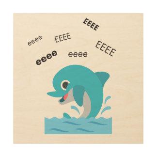 Eeee Delphin niedliches Emoji Holzwanddeko