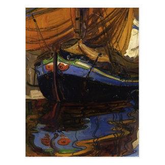 Egon Schiele-Segeln Boot mit Reflexion im Wasser Postkarte