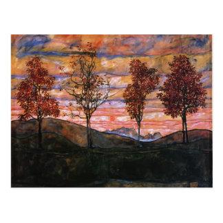 Egon Schiele- vier Bäume Postkarte