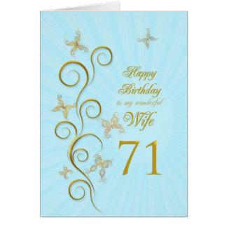 Ehefrau-71. Geburtstag mit goldenen Karte