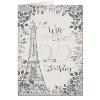 Ehefrau-romantischer 55. Geburtstags-Eiffel-Turm Karte