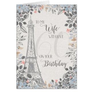 Ehefrau-romantischer 60. Geburtstags-Eiffel-Turm Karte