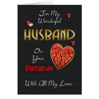 Ehemann, Geburtstag mit Goldeffekt Grußkarte