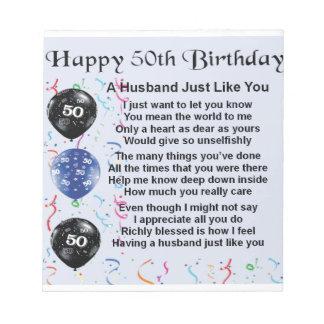 Ehemann-Gedicht - 50. Geburtstag Notizblock