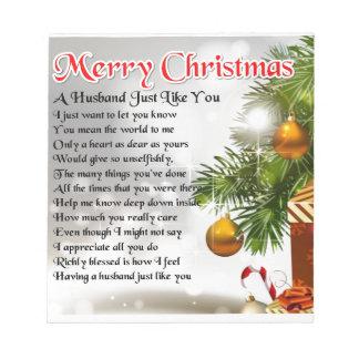 Ehemann-Gedicht - Weihnachtsentwurf Notizblock