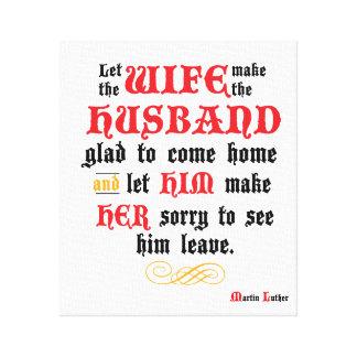 Ehemann-u. Ehefrau-Zitat ausgedehnte Leinwand