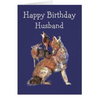 Ehemann-wilde Sache-Geburtstags-Spaß-Kojote-Tiere Karte