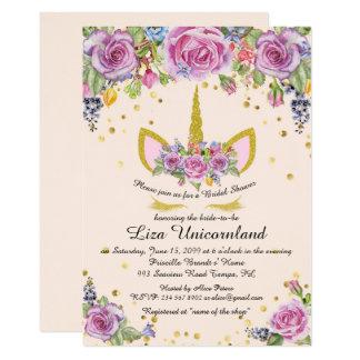 Ehrendes Brautparty, Unicorn, Rosa, Blumen Karte