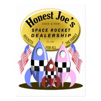 Ehrlichen Joes Weltraumrakete-Verkaufsstelle Postkarte