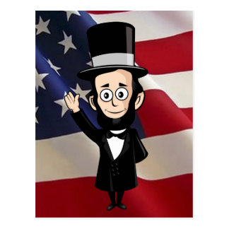 Ehrlicher Abe und amerikanische Sterne und Postkarte