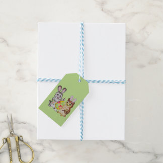 Ei der glücklichen Osterhasen- und Eulenmalerei Geschenkanhänger