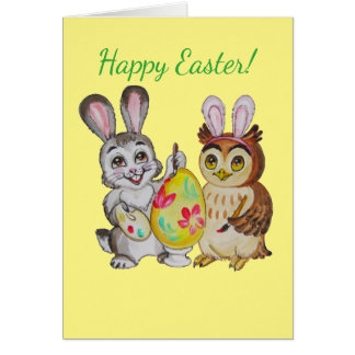 Ei der glücklichen Osterhasen- und Eulenmalerei Karte