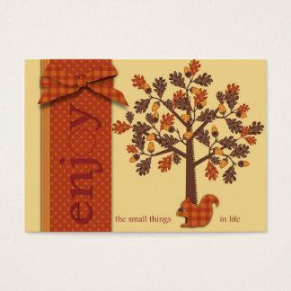 Eichel-Baum mit Eichhörnchen für Erntedank Visitenkarte