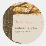 Eichen-Baum-Hochzeit im Herbsts-Bevorzugungs-Aufkl Runder Aufkleber
