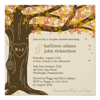 Eichen-Baum-Hochzeit im Herbsts-Duschen-Einladung Quadratische 13,3 Cm Einladungskarte