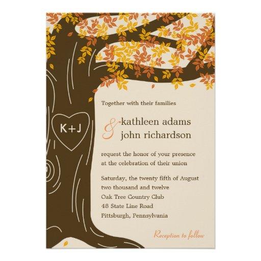 Eichen-Baum-Hochzeit im Herbsts-Einladung