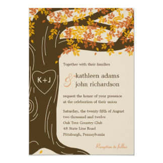 Eichen-Baum-Hochzeit im Herbsts-Einladung 12,7 X 17,8 Cm Einladungskarte