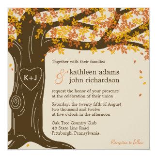 Eichen-Baum-Hochzeit im Herbsts-Einladung Quadratische 13,3 Cm Einladungskarte