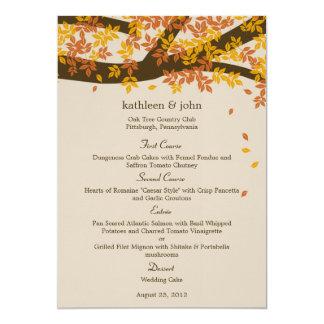 Eichen-Baum-Hochzeit im Herbsts-Menü-Karte 12,7 X 17,8 Cm Einladungskarte