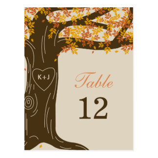 Eichen-Baum-Hochzeit im Herbsts-Tischnummer-Karte Postkarte
