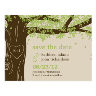 Eichen-Baum-Save the Date Postkarte