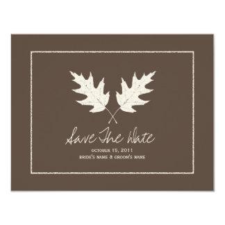 Eichen-Blätter Hochzeit im Herbsts-Browns Save the 10,8 X 14 Cm Einladungskarte