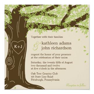Eichen-Hochzeits-Einladung Quadratische 13,3 Cm Einladungskarte