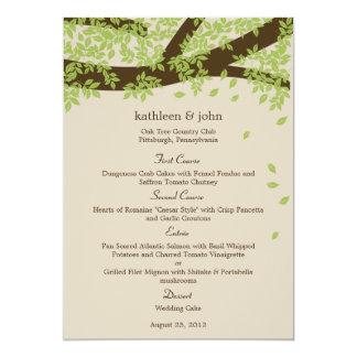 Eichen-Hochzeits-Menü-Karte 12,7 X 17,8 Cm Einladungskarte