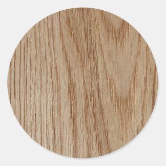 Eichen-Holz-Korn-Blick Runder Aufkleber