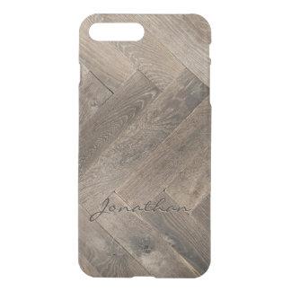 Eichen-Holz-Zickzack-Muster-Monogramm iPhone 8 Plus/7 Plus Hülle