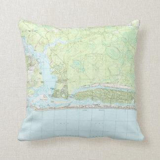 Eichen-Insel-North Carolina Map (1990) Kissen